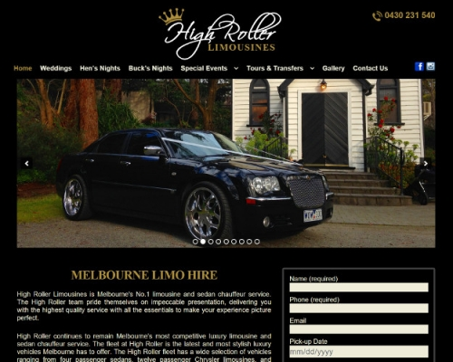 website designed for High Roller Limousines