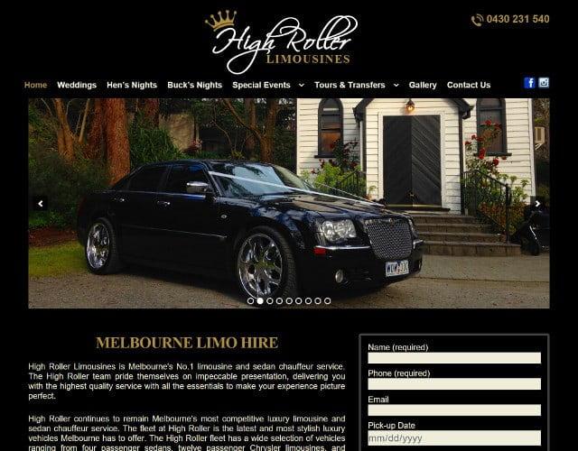 website designed for High Roller Limousines