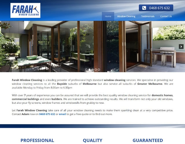 new web design for farah window cleaning