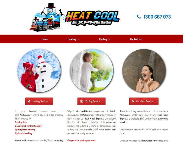 web design for heat cool express